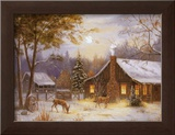 Log Cabin with Deer Art by M. Caroselli
