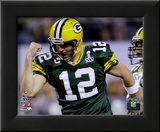 Aaron Rodgers Action from Super Bowl XLV (19) Framed Photographic Print