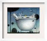 Heaven is a Hot Bath Print by Rob Scotton