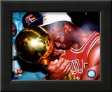 Michael Jordan Game 5 of the 1991 NBA Finals with Championship Trophy Framed Photographic Print