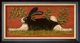 Red Folk Bunny Art by Lisa Hilliker