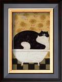 Cat in Hot Tin Tub Prints by Warren Kimble