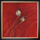 Crimson Sparrows I Posters by Ellen Granter