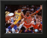 Michael Jordan & Magic Johnson 1990 Action Framed Photographic Print