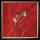 Crimson Sparrows II Art by Ellen Granter