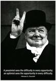 Pessimist Optimist Winston Churchill Quote Affiches