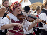Woman Playing Violin and Wearing Folk Dress, Borsice, Brnensko, Czech Republic Photographic Print by Richard Nebesky