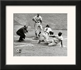 Jackie Robinson steals home during the 1955 World Series Framed Photographic Print