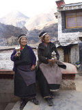 Two Buddhist Pilgrim Women at the Tidrum Nunnery in Tibet, China, Asia Photographic Print by Nancy Brown
