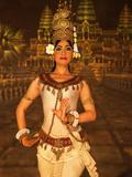 Apsara Dancer in Traditional Costume at Mondial Restaurant, Pokambor Ave, Siem Reap, Cambodia Photographic Print by Lynn Gail