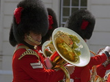 Coldstream Guards Band Practise at Wellington Barracks, Reflected in Brass Tuba, London, England Photographic Print by Walter Rawlings