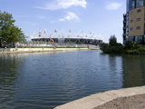 Olympic Stadium from Lee Valley River Navigation, Stratford, London, England Photographic Print by Ethel Davies