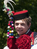 Young Man Wearing Folk Dress During Festival Ride of Kings, Vlcnov, Zlinsko, Czech Republic, Europe Photographic Print by Richard Nebesky