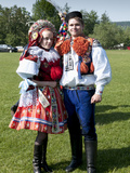 Woman and Man Dressed in Folk Dress, Village of Vlcnov, Zlinsko, Czech Republic Photographic Print by Richard Nebesky