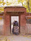 Tibetan Pilgrim Woman in Palkhor Chode Monastery, Gyantse, Tibet, China, Asia Photographic Print by Nancy Brown