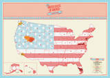 US Scratch Map Poster Kunstdrucke