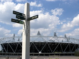 Signpost for the Greenway, with the Oiympic Stadium Behind, Stratford, London, England, UK Photographic Print by Ethel Davies