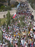 Palm Sunday Procession on Route from Betphage to Sainte Anne, Jerusalem, Israel, Middle East Photographic Print by Eitan Simanor