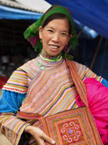 Flower Hmong Woman Selling Handmade Bags at Bac Ha Sunday Market, Bac Ha, Ha Giang, Vietnam Photographic Print by Lynn Gail