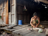 Portrait of Woman Preparing Food in Tbong Village, Banteay Chhmar, Cambodia, Indochina Photographic Print by Lynn Gail