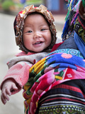 Portrait of Black Hmong Baby in Sling Attached to Mother, Sapa, Lao Cai, Vietnam, Indochina Photographic Print by Lynn Gail