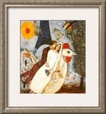 Fiances Tour Eiffel Póster por Marc Chagall