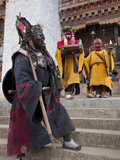 Masked Dancers at Buddhist Monastery, Ura, Bhutan, Asia Photographic Print by Eitan Simanor