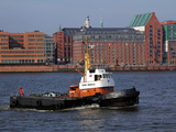 Tugboat on River Elbe, Hamburg Harbour, Germany, Europe Photographic Print by Hans-Peter Merten