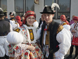 Woman and Man Wearing Folk Dress During Autumn Feast with Law Festival, Borsice, Czech Republic Photographic Print by Richard Nebesky