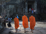 Buddhist Monks Walking to Entrance of Angkor Wat, UNESCO World Heritage Site, Siem Reap, Cambodia Photographic Print by Lynn Gail