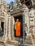 Buddhist Monk at Bayon Temple, Angkor Temples, UNESCO World Heritage Site, Siem Reap, Cambodia Photographic Print by Matthew Williams-Ellis