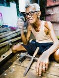 Indonesian Carpenter Man at Taman Sari, Water Castle, Yogyakarta, Central Java, Indonesia Photographic Print by Matthew Williams-Ellis