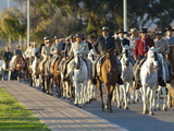 Spanish Horsemen in Feria Procession, Tarifa, Andalucia, Spain, Europe Photographic Print by Giles Bracher