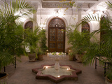 Interior Courtyard with Marble Fountain and Palm Trees, Villa Des Orangiers, Marrakech, Morocco Photographic Print by Ellen Rooney