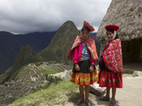 Traditionally Dressed Children by Machu Picchu, UNESCO World Heritage Site, Vilcabamba Mtns, Peru Photographic Print by Simon Montgomery