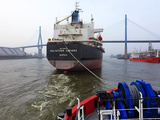 Tugboat and Freighter in Harbour, Hamburg Seaport, Germany, Europe Photographic Print by Hans-Peter Merten