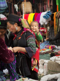 Portrait of Black Hmong Mother and Child in Traditional Clothing at Sapa Market, Sapa, Vietnam Photographic Print by Lynn Gail