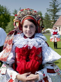 Woman Wearing Folk Dress, the Ride of the Kings Festival, Vlcnov, Zlinsko, Czech Republic, Europe Photographic Print by Richard Nebesky