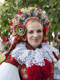 Woman Wearing Vlcnov Folk Dress During Ride of Kings Festival, Vlcnov, Zlinsko, Czech Republic Photographic Print by Richard Nebesky