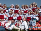 Girls and Men Wearing Folk Dress, Ride of Kings Festival, Vlcnov, Zlinsko, Czech Republic, Europe Photographic Print by Richard Nebesky