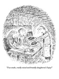 """Two steaks, cruelly raised and brutally slaughtered. Enjoy!"" - New Yorker Cartoon Giclee Print by Edward Koren"