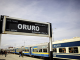 Oruro Train and Station Sign, Bolivia, South America Photographic Print by Simon Montgomery