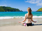 Woman Meditating Outside at Mawun Beach, Lombok, Indonesia, Southeast Asia, Asia Photographic Print by Matthew Williams-Ellis