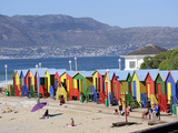 Colourful Beach Huts, Kalkbay, Cape Province, South Africa, Africa Photographic Print by Peter Groenendijk