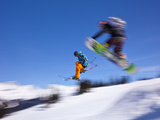 Snowboarder Flying Off Ramp, Whistler Mtn, Whistler Blackcomb Ski Resort, British Columbia, Canada Photographic Print by Stuart Dee