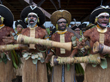 Local Tribes Celebrating Traditional Sing Sing, Highlands, Papua New Guinea, Pacific Photographie par Michael Runkel