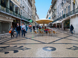 Shops and Restaurants on Augusta Street, the Main Shopping Street, Lisbon, Portugal, Europe Photographic Print by Adina Tovy