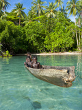 Young Boys Fishing in the Marovo Lagoon, Solomon Islands, Pacific Photographic Print by Michael Runkel