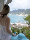 Woman Looking at Cruise Ship in Port, Charlotte Amalie, St. Thomas, US Virgin Islands, Caribbean Photographic Print by Angelo Cavalli