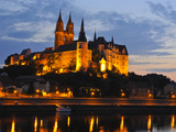 Albrechtsburg in Meissen, Saxony, Germany, Night Shot Photographic Print by Michael Runkel